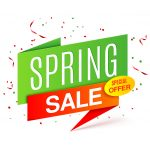 Green spring sale banner on white background